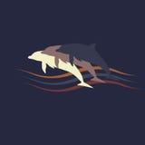 海豚剪影商标 库存照片
