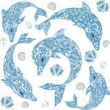 海豚图画、哺乳动物的海洋动物、例证,贝壳、船锚和花、线浮游物有鱼的,纹身花刺,尾巴和飞翅 库存照片