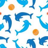 海豚无缝的样式 免版税库存图片