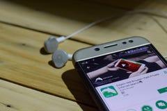 海豚浏览器在智能手机屏幕上的dev应用 免版税图库摄影