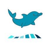 海豚海洋动物剪影 向量例证