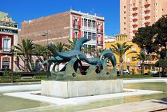 海豚雕象,阿尔梅里雅 免版税库存照片