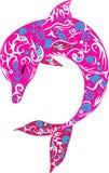 海豚,海洋动物桃红色 向量例证