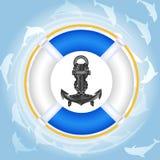 海豚lifebuoy超出水 免版税库存照片