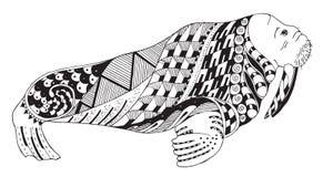 海象zentangle传统化了,导航,例证,徒手画的铅笔 库存照片
