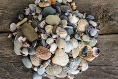 海轰击在木背景的石头 库存照片