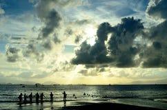 海边剪影 库存照片