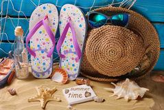 海边暑假静物画 库存照片