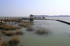 海边木板走道和亭子 库存照片