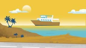 海边棕榈树和小船导航例证背景模板为做广告,旅行社,横幅,项目 库存图片
