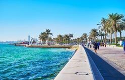 海边步行,多哈,卡塔尔 免版税库存图片