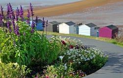 海边海滩小屋和花 免版税库存照片
