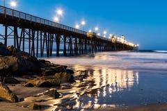 海边渔码头在黎明 免版税库存照片