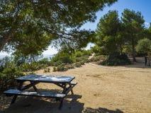 海边足迹在l ` Ametlla de 3月 免版税库存照片