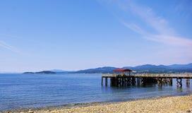 海边远景在春日 免版税库存照片
