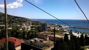 海边镇的看法 库存照片