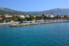 海边镇Orebic在克罗地亚,欧洲 库存图片