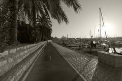 海边骑自行车的路线 免版税图库摄影