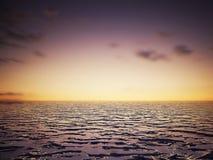 海运日落横向图象 免版税库存照片