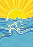 海运星期日挥动黄色 向量例证