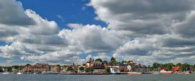 海运村庄waxholm 免版税库存图片