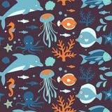 海运生物收集: 无缝的模式 图库摄影