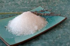 海运盐和淡紫色花 图库摄影