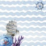 海运船 背景查出的白色 免版税库存照片