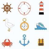 海运要素的收集 免版税库存照片
