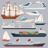 海运输 船和不同的小船的传染媒介例证 平的样式图片 库存例证