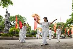 海防,越南- 2015年4月30日:训练与爱好者的小组亚裔资深人民一个舞蹈在海防中心公园  免版税库存图片