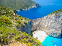 海难海湾,扎金索斯州海岛,希腊 免版税图库摄影