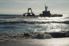海难 海岸纳米比亚概要 库存图片