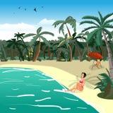 海风景夏天热带私有海滩 库存例证