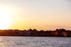 海风景日落 库存照片