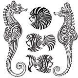 海马和鱼 免版税库存图片