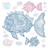 海鱼集合。手拉的例证。 库存例证