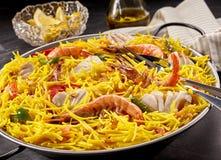 海鲜与柠檬和油的肉菜饭膳食 图库摄影