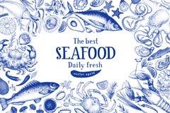 海鲜传染媒介框架例证 可以是餐馆的菜单,盖子用途,包装 葡萄酒手拉的横幅模板 库存例证