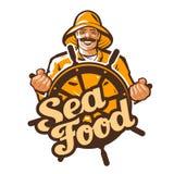 海鲜传染媒介商标 渔夫、渔夫、钓鱼者或者捕鱼船象 库存例证