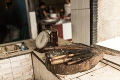 海鲜切口地方的天秤座 免版税库存照片