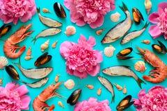 海鲜和花背景 免版税库存照片