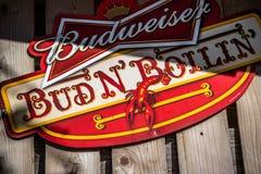 海鲜和酒精饮料小餐馆在阿比维尔,路易斯安那 免版税库存图片