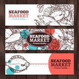 海鲜市场剪影设计 免版税库存图片