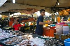 海鲜市场在亚庇,沙巴婆罗洲 免版税库存照片