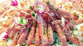 海鲜开胃菜用大虾、金枪鱼carpaccio和葡萄柚切片 免版税图库摄影