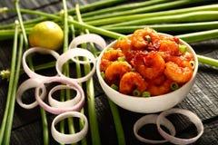 海鲜开胃菜虾,被油炸的大虾 免版税图库摄影