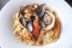 海鲜意大利煨饭 免版税库存照片
