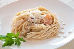 海鲜意大利面食用大虾 库存图片