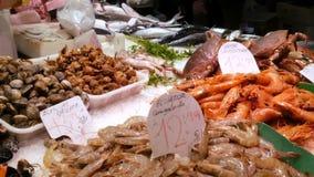 海鲜捉蟹龙虾乌贼虾小龙虾牡蛎在鱼市La Boqueria西班牙的淡菜贝壳 股票视频